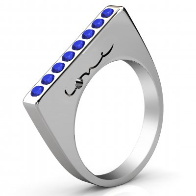 Evolve Love Ring - 2.4 Square Silver .40ct Sapphires