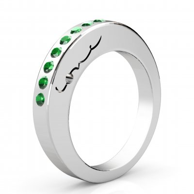 Evolve Love Ring - 2.4 Round 18k WG .40ct Emeralds